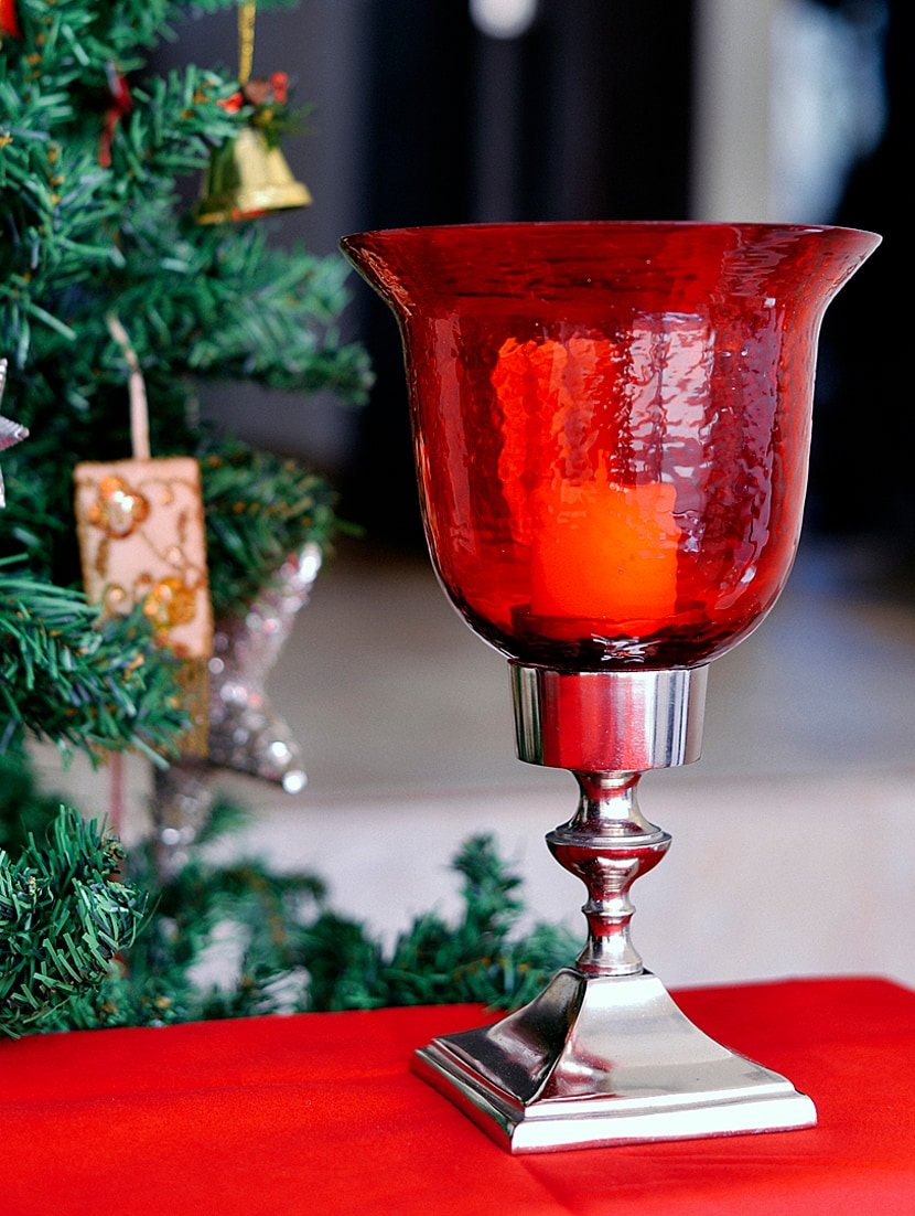 Red Hurricane Candle Holder - The Yellow Door
