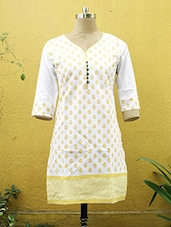 White And Yellow Printed Kurti - Sutee