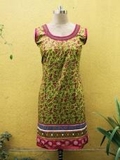 Olive Green Leaf Print Kurti - Sutee