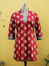 Red Printed Kurti With Sleeves - Sutee
