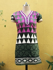 Green Kurti With Geometric Print - Sutee