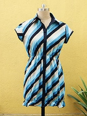 Navy Blue Striped Kurti With Collar - Sutee