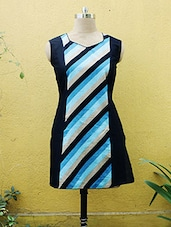 Navy Blue Striped Kurti With V-Neck - Sutee