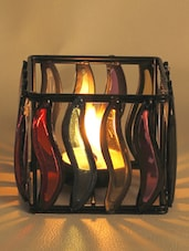 Multi Color Glass Panes Square Wrought Iron Tea Light Holder - Aapno Rajasthan