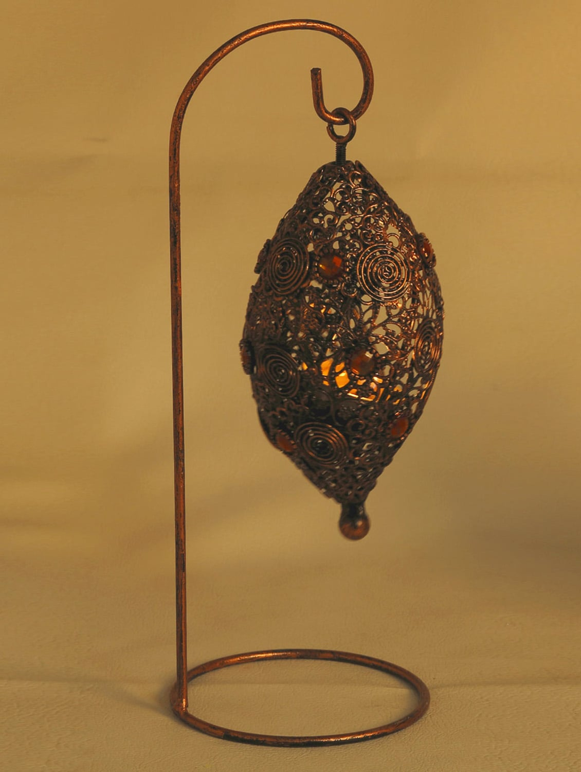Bird Nest Wrought Iron Tea Light Holder With Colored Glass - Aapno Rajasthan