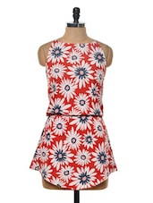 Bright Red Floral Print Dress - Myaddiction