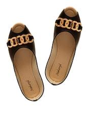 Black Embellished Peep Toe Flats - MAHARAJA