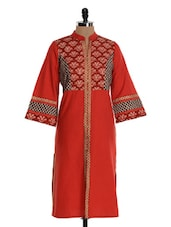 Red Cotton Jacket Style Kurta - Farida Gupta