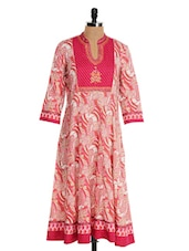 Pink And White Embroidered Anarkali Kurta - Farida Gupta
