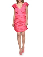 Ruched Ruffle Frill Pink Dress - FOREVER UNIQUE