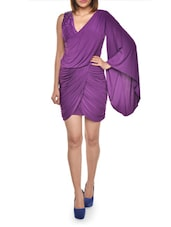 Ruched Purple Flared Sleeve Dress - FOREVER UNIQUE