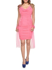 Ruched Pink Pencil Dress With Cowl Neck - FOREVER UNIQUE