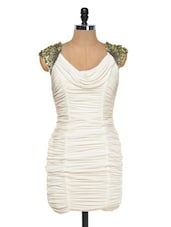 Ruched Ivory Pencil Dress With Cowl Neck - FOREVER UNIQUE