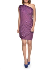 Beaded Purple Draped Dress - FOREVER UNIQUE