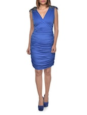 Royal Blue Ruched Cocktail Dress - FOREVER UNIQUE