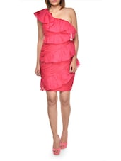 Pink Ruffled One Shoulder Party Dress - MARCHESA
