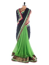 Black-green Georgette Saree With Jacquard Work - Saraswati