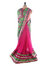 Pink-green Georgette Saree With Jacquard Work - Saraswati