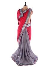 Red-grey Georgette Saree With Jacquard Work - Saraswati