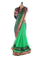 Green Georgette Saree With Jacquard Work - Saraswati