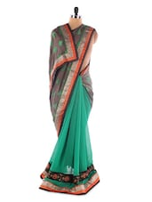 Green And Grey Georgette Saree With Jacquard Work - Saraswati