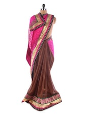 Pink And Dark Brown Georgette Saree With Jacquard Work - Saraswati