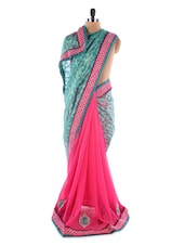 Green And Pink Georgette Saree With Jacquard Work - Saraswati