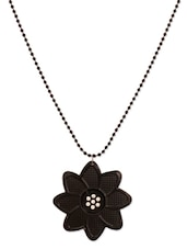 Black Flower Pendant With Beaded Chain - THE BLING STUDIO