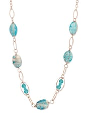 Blue Beaded Chain Necklace - THE BLING STUDIO