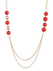 Red Pearl Chain Necklace - THE BLING STUDIO