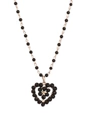 Black Heart Pendant With Beaded Chain - THE BLING STUDIO