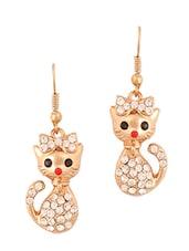 Gold Kitty Studded Earrings - THE BLING STUDIO