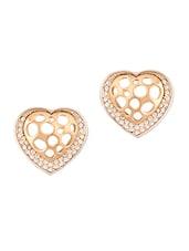 Gold Studded Heart Earrings - THE BLING STUDIO