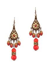 Red Beaded Antique Earrings - THE BLING STUDIO