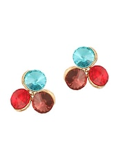 Multicolored Stone Studded Earrings - THE BLING STUDIO