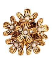 Gold Floral Studded Ring - THE BLING STUDIO