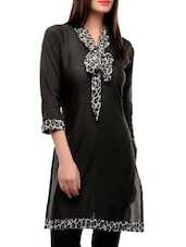 Black Kurti With Animal Print Front Tie-up - Jainish