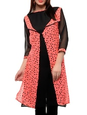 Peach And Black Heart Print Long Jacket Style Kurta - Jainish