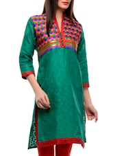 Green Kurta With A Multi-coloured Yoke - Jainish