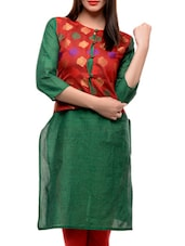 Green Kurta With A Red Front Jacket - Jainish