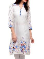 Elegant White Kurta With Blue Floral Prints - Jainish