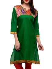 Green Three Quarter Sleeved Kurta - Jainish