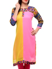 Yellow And Pink Kurta With Printed Sleeves - Jainish