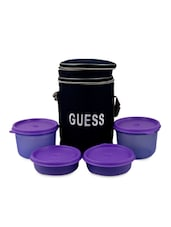 Round Violet Lunch Box With Bag (Set Of 4) - Trust & Guess