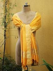 Bright Yellow Dupatta With Gold Stripes - Cotton Koleksi