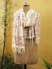 Beige And Maroon Printed Dupatta - Cotton Koleksi