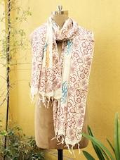 Beige And Maroon Floral Print Dupatta - Cotton Koleksi