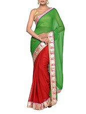 Fantastic Green And Red Half And Half Georgette Saree With Lotus Motif Border - Tanisi