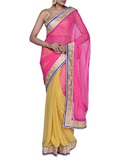 Glamorous Pink And Yellow Half And Half Georgette Saree - Tanisi