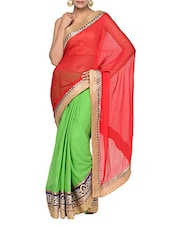 Glamorous Green And Red Half And Half Georgette Saree - Tanisi